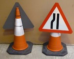 Temporary Plastic Road Cone Signs