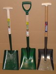Shovels in a variety of shapes and sizes